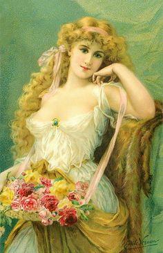 Sweet as Roses ~ Emile Vernon Victorian Paintings, Victorian Art, Victorian Women, Vintage Pictures, Vintage Images, Pretty Pictures, Vintage Prints, Vintage Art, Vintage Ladies
