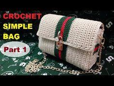 How to Crochet Simple Bag part Col Crochet, Crochet Mandala Pattern, Crochet Clutch, Crochet Jacket, Crochet Shoes, Crochet Handbags, Crochet Purses, Crochet Stitches, Crochet Baby