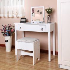 SEA225 Măsuță pentru cosmetică și machiaj cu taburet tapițat - http://www.emobili.ro/cumpara/sea225-set-masa-alba-toaleta-cosmetica-machiaj-oglinda-masuta-scaunel-817 #eMobili