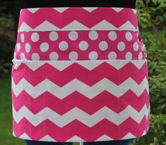 Vendor Apron, Craft Apron in Hot Pink White Chevron Stripe with Polka Dots - 4 Pocket Half Apron with Zipper Pocket and Key Claspn on Etsy, $25.00