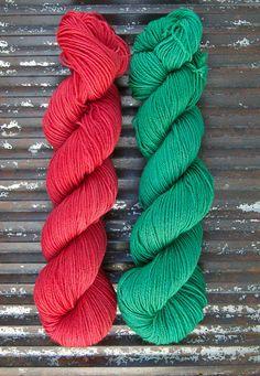 Fingering yarn mini skein pairs - Kettle Yarn Co.  100% Superwash British BFL - BRITISH MINIS - green red yarn