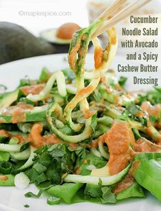 Cucumber Noodle Salad with Avocado and a Spicy Cashew Butter Dressing - vegan and gluten-free recipe #JamiesGlutenfreerecipes