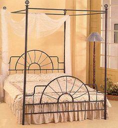 Black Wrought Iron Sunburst Canopy Bed | MonsterMarketplace.com