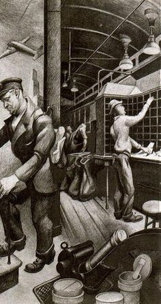 'Sorting Messages (Study for unexecuted Post Office mural)' Thomas Hart Benton (1889-1975, United States)