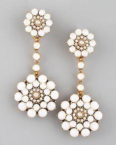 Rhinestone Drop Earrings, White by Oscar de la Renta at Bergdorf Goodman.