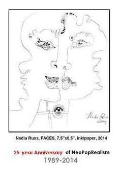 Nadia Russ, neopoprealism, Faces, 2014_ink pen pattern drawing, 25-year anniversary of Neopoprealism art contest