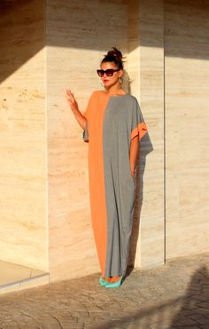 Grey and peach Oversize Maxi Elastic Cotton Caftan Dress/Summer dress/Party/Day/Plus size /Maxi dress/ by cherryblossomsdress on Etsy https://www.etsy.com/listing/196948406/grey-and-peach-oversize-maxi-elastic