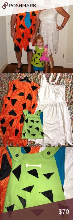Custom made Flintstones Family Costumes. L/XL 3T Darling handmade Flintstones family Halloween costume. Items included are: men's Fred orange tunic in size L/XL. Women's Wilma Dress in size L/XL (10-14 stretchy). Wilma necklace and bracelet. Toddler Pebbles tunic size 3T. One plastic bone for Pebbles hair. Items NOT INCLUDED are: toddler shorts, stuffed Dino, Fred's tie (easy enough to replace.) Handmade items are in EUC. Dresses Mini