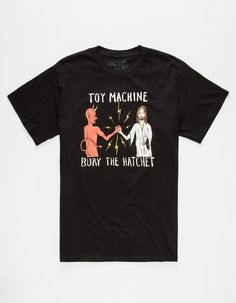 Toy Machine Bury The Hatchet tee. Devil and Jesus shaking hands graphic with Bury The Hatchet text screened on front. Short sleeve. Crew neck. 100% cotton. Machine wash. Imported.