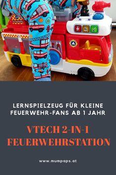 #Lernspielzeug für Feuerwehr-Fans ab #1 Jahr: Die #VTech 2-in-1 Feuerwehrstation lässt sich im Handumdrehen zu einem Feuerwehrauto umbauen - Spielspaß garantiert! #spielzeug #kinder #geschenkideen #geschenke 2 In, Nerf, Funny Songs, Firetruck, Game Pieces, Parents