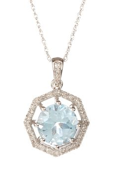 10K White Gold Sky Blue Topaz & Diamond Octagonal Pendant Necklace - 0.10 ctw on HauteLook
