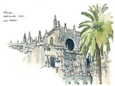 Séville, Cathédrale, Sud | by gerard michel Drawing Sketches, Art Drawings, Building Illustration, Sketch Journal, Urban Sketchers, Watercolor Sketch, Illustrations, Urban Landscape, Michel