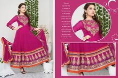 Butta Magenta Long Anarkali Suit #bride #stylish #bollywood #beauty #net #georgette #embroidery  #wedding #gown #partywear #Anarkali #Indian #Fashion #Salwar #Kameez #party #Dresses  #women #Latest #Outfits  #Desiwedding #designer   #beautiful #shaadi #suit #Pakistani #Asian #Clothing