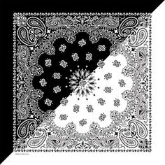 Black/White Split Paisley Bandana - Made In The Usa, Bikers, Motorcycle Bandana Tattoo, Bandana Print, Bandana Scarf, Cool Bandanas, Bandana Design, Mandala Coloring Pages, Tattoo Stencils, Paisley Design, Cool Fabric