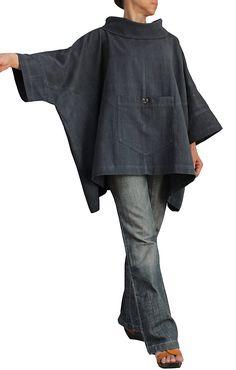 ジョムトン手織り綿のハイネックポンチョプルオーバー BFS-122-01