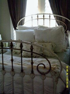 Antique Wrought Iron Double Bed Frame, guest room someday!