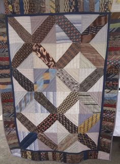 Re Purposed Mens Ties Quilt / Men's Shirts and Vintage Ties Quilt / Quiltsy Team