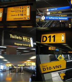 Frutiger Signs at Schiphol Airport