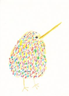 Rainbow Kiwi Bird - Art Painting...great for card front!