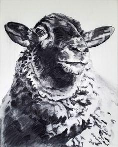 """sheep"" charcoal on canvas, Nicol Lunardi Charcoal Art, Art Tips, Watercolours, Sheep, Moose Art, Tutorials, Fine Art, Canvas, Animals"