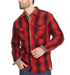 d261918faf229e Long Sleeve Twill Flannel Shirt Crimson