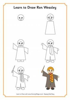 Learn to draw Ron Weasley, Harry Potter's loyal friend. Ron and his family welcome and protect Harry, and Ron is of course the one who makes us all laugh, too! -- Activity Village is a Small Publishing website.