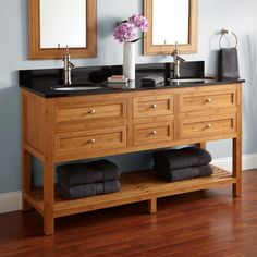 "60"" Thayer Bamboo Double Vanity for Undermount Sinks"