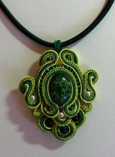 Emeraude: Sea Sediment Jasper Cabochon Soutache Pendant with Cord Necklace $74