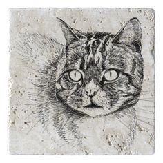 tabby cat natural stone trivet trivets