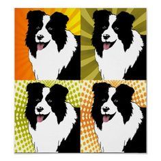 Border Collie Dog Pop Art Poster Original artwork