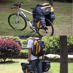 65L Cycling Bicycle Bag Bike rear seat bag pannier + Backpack with Rain Cover