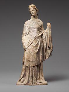 Greek, Terracotta statuette of a draped woman, 2nd century BC