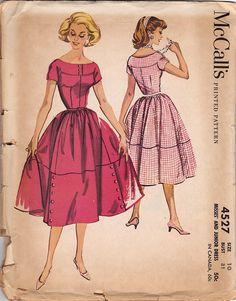 1950s Vintage Sewing Pattern: McCalls 4527 Misses Dress