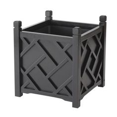 DMC 18 in. Black Square Chippendale Planter-70212 at The Home Depot