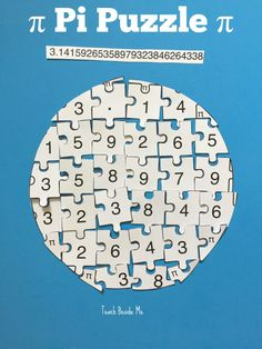Pi Puzzle for Pi Day activity! Check out all the 28 Days of STEAM Projects for Kids for fun science, technology, engineering, art, and math activities!
