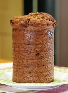 Pumpkin bread baked in a coffee can! My mom baked it like this. I remember perfectly round slices and a little cream cheese spread on!