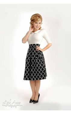 Pinup Girl Clothing- Academy Skirt in Black and White Geometric Print | Pinup Girl Clothing