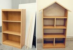 How to Build a Doll House from a Book Shelf, these can be made into head and foot boards too.