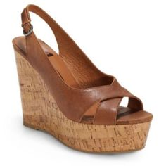 Dolce Vita Jill Brown Leather Cork Wedges Sandals