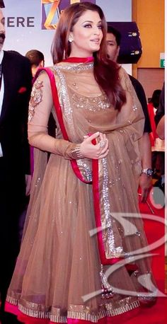 Aishwarya rai's dark beige color anarkali suit