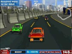 In this NASCAR-like American Racing game can you become the champion! Work your way up to the top by competing in various races. Earn money to upgrade your car so that you become a bigger challenge for the other drivers. You can upgrade various components, like: Engine Aerodynamics Tires Offroad Strength Boost