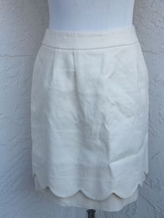 Anthropologie Leifsdottir Size 2 Ivory Scalloped Hem Linen Cotton Mini Skirt | eBay