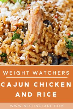 Weight Watchers Cajun Chicken and Rice Recipe - A healthy one skillet meal with bell pepper onion cumin chili powder tomatoes and olives. Low calorie with 173 calories 2 WW Freestyle Points and 6 Smart Points. Weight Watchers Diet, Weight Watcher Dinners, Weight Watchers Chicken, Weight Watcher Crockpot Recipes, Crockpot Rice Recipes, Low Calorie Dinners, Low Calorie Recipes, Healthy Dinner Recipes, Ww Recipes