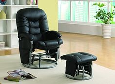 """Padded seating and smooth gliding mechanism, covered in durable black leatherette cushion, included ottoman. All In One Weight Loss Calculator All in one Weight Loss CalculatorTPM Webinar Download These 15 """"Done-For-You"""" Profit MACHINES So You Can Shortcut your way to 10/mo online...Online... more details available at https://furniture.bestselleroutlets.com/game-recreation-room-furniture/gliders/product-review-for-coaster-home-furnishings-glider-and-ottoman-set-with-cushion-b"""