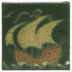 "Grueby tile, design of a ship in green, brown and yellow matt glaze, 6""sq"