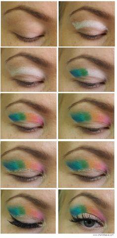 Rainbow cut-crease for deep set/hooded eyes   Charlotta Eve