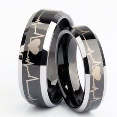 Matching Black Tungsten Carbide Rings for His or Hers Men Women Forever Love Laser Engraved Flat Top Polised Finished Comfort Fit Wedding Band, engagement, promise rings, or anniversary. Both his:8mm & hers:6mm sold separately $16.99 each ring.