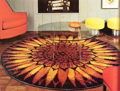70s sunflower rug and glass coffee table, Practical Encylopedia of Good Decorating and Home Improvement, 1970