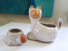 Set of planters One Cat and One Turtle by David by NeNeandSeSe
