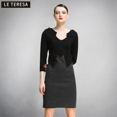 $76.00 2013 spring new brand Women counters authentic splicing long sleeve bottoming dress autumn and winter the female main